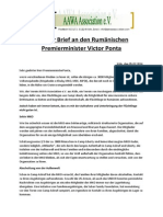 Offener Brief an den Rumänischen Premierminister Victor Ponta 05.02.2014