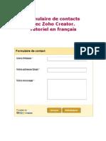 Formulaire de contacts avec Zoho Creator. Tutoriel  en français