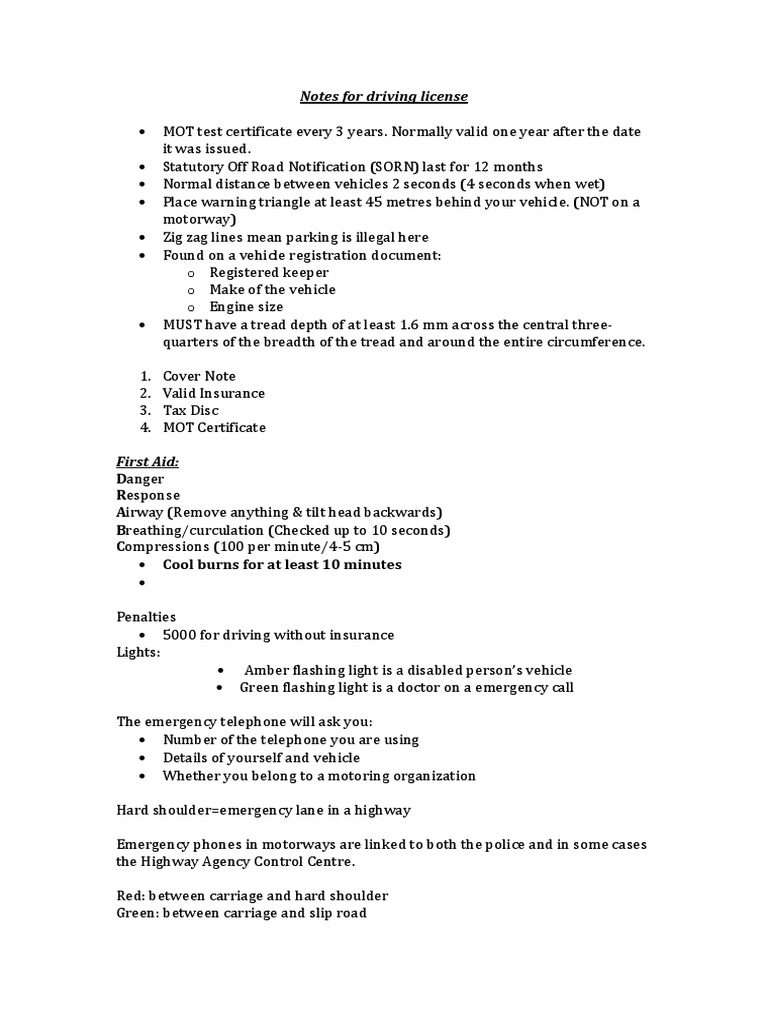 Notes For Driving License Road Infrastructure Transport