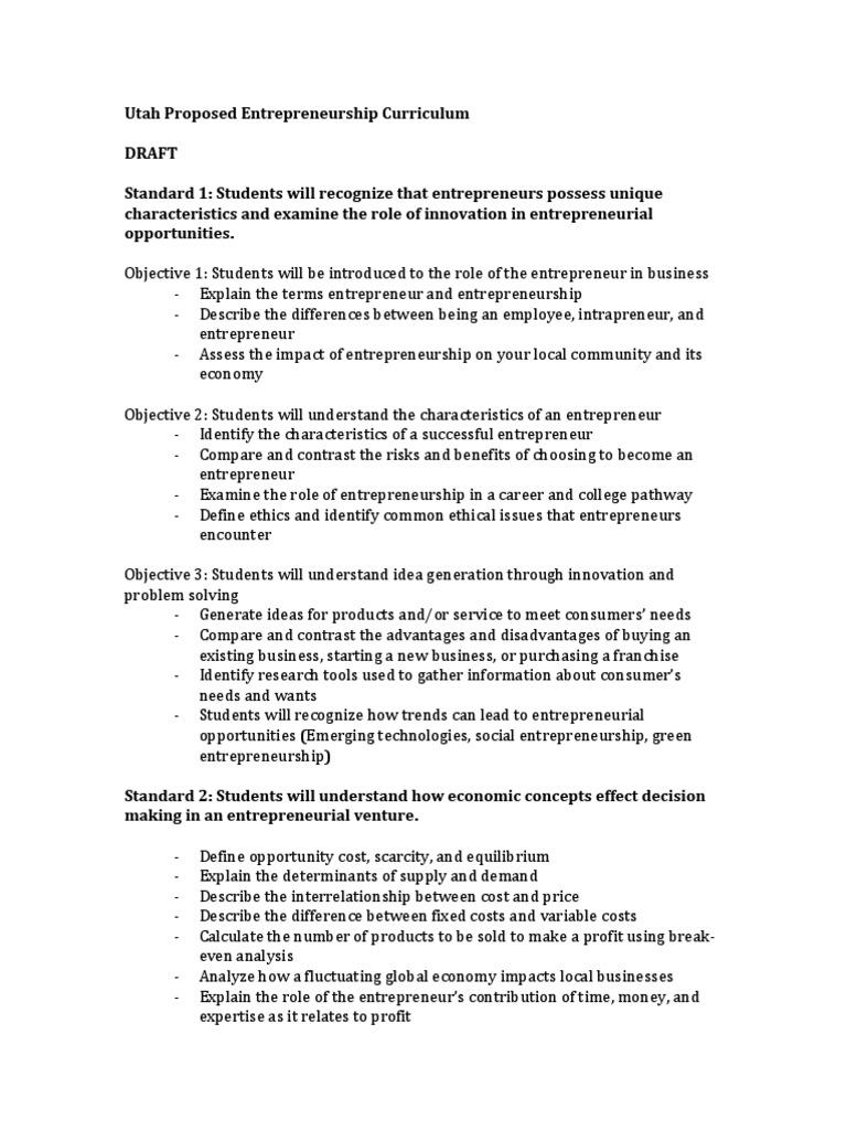 Entepreneurship Curriculum_FirstDraft (1)   Entrepreneurship