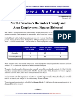 December Unemployment and Jobs report by County and Metropolitan areas December 2014