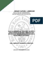 Tesis Nivel Académico del Personal Docente y Directivo de Normales