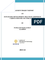 Management Project Report- Business strategies for sustainable development in various industries in india