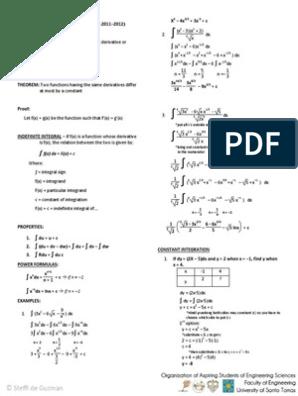 Integral Calculus Reviewer pdf | Integral | Sine