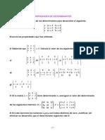 Ejercicios propuestos de cálculo de determinantes utilizando propiedades.