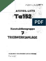 Ta 152 Ersatzteil-Liste