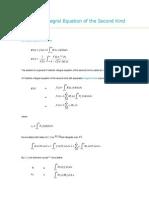 Fredholm Integral Equation of the Second Kind