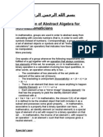 Explanation of Abstract Algebra for Non Mathematicians
