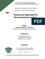 Sistema de Seguridad Por Reconocimiento de Voz (Tesis de Ingenieria ESIME)
