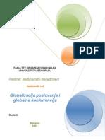 Globalizacija Poslovanja i Globlna Konkurencija