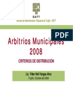 Arbitrios Municipales 2008 - Criterios de Distribución