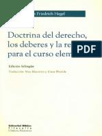 G.W.F. Hegel - Doctrina del Derecho los Deberes y la Religión (Lecciones) 1810 (Edición Bilingüe)