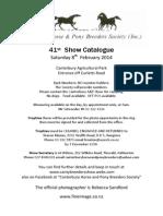 Canterbury Horse and Pony Breeders  Inhand Show Catalogue February 8 2014