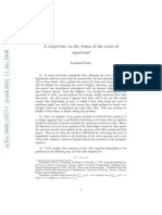 A Conjencture on the Forms of the Roots of Equations Leonard Euler