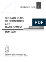 ICWAI Paper 1 Fundamentals of Economics and Management