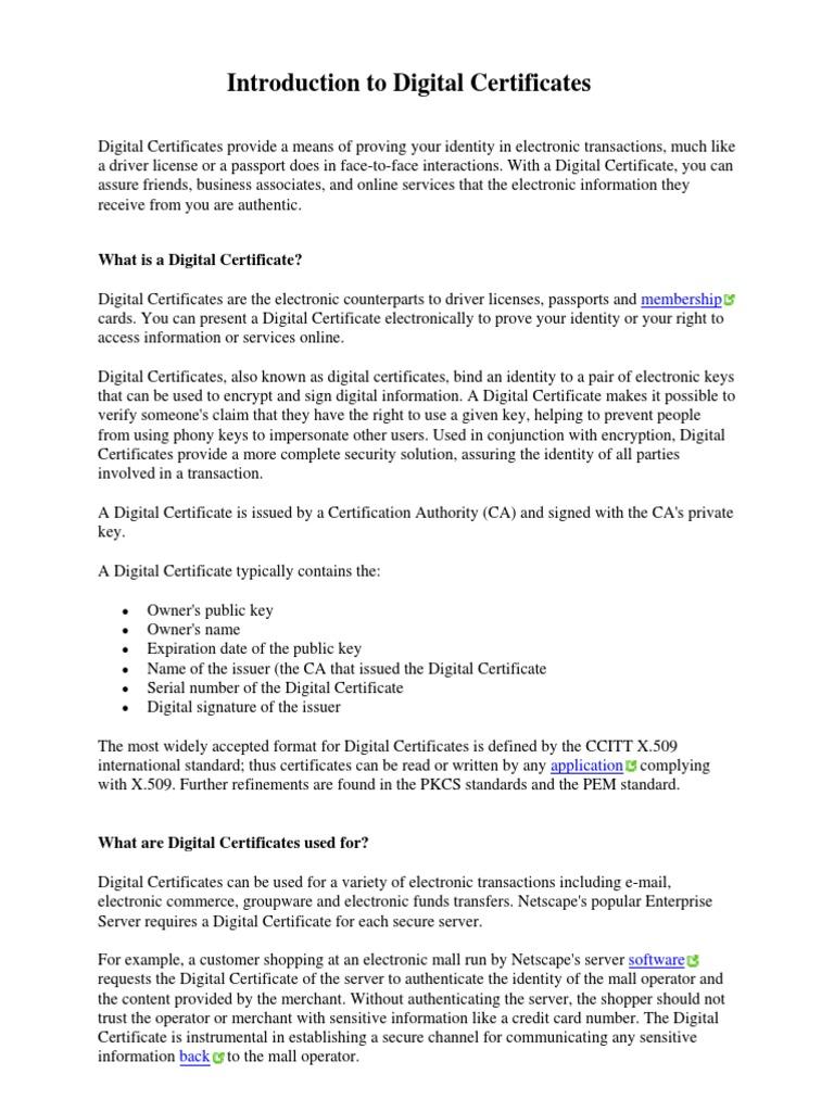 Certificate Intro - VeriSign | Public Key Certificate