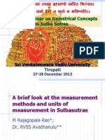 A Brief Look at the Measurement Methods and Measurement Units in Sulbasutras