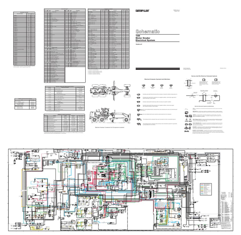 cat grader 14h 7wj664 up electrical system schematicpanel fuse box and wiring  harness motor grader caterpillar