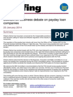 Citizens Advice Briefing on Payday Loan Companies 20 January 2014