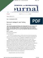 Ductwork Leakage & Leak Testing Journal