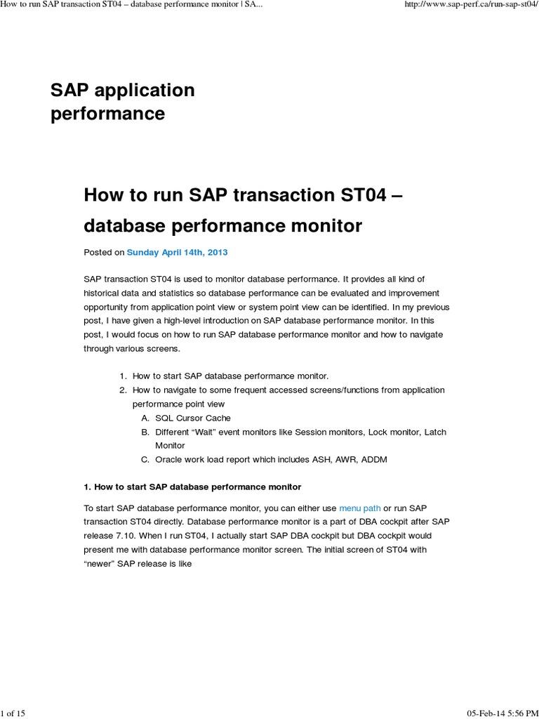 How to run SAP transaction ST04 – database performance