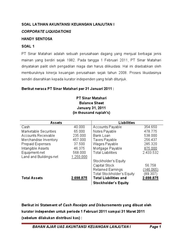 Soal Latihan Akuntansi Keuangan Lanjutan I Bahan Uas