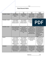 Planet Research Rubric