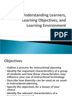 Understanding Learners, Learning Objectives, And Learning