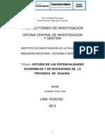 ESTUDIO DE LAS POTENCIALIDADES  ECONÓMICAS Y DE INVERSIONES DE  LA  PROVINCIA  DE  HUAURA