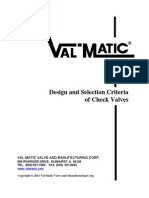 Design and Selection Criteria for Check Valves
