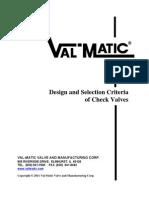 Design and Selection Criteria for Check Valves