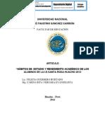HÁBITOS DE  ESTUDIO Y RENDIMIENTO ACADÉMICO DE LOS ALUMNOS DE LA I.E.SANTA ROSA HUACHO 2013
