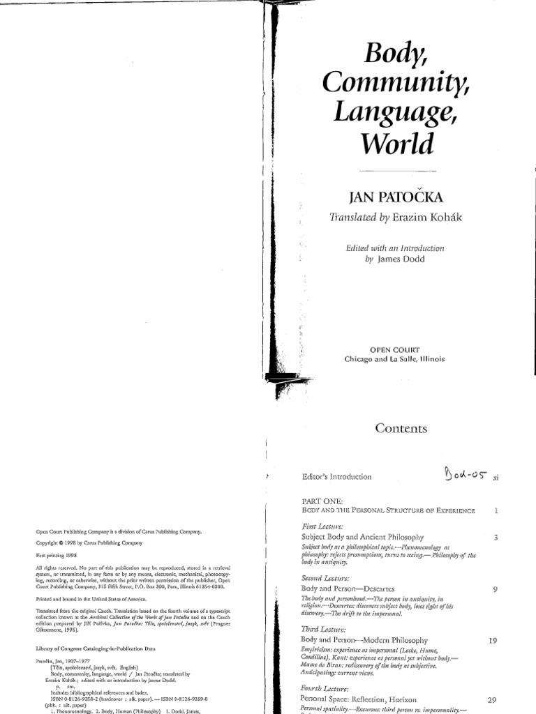 Jan Patocka, Body, Community, Language, World