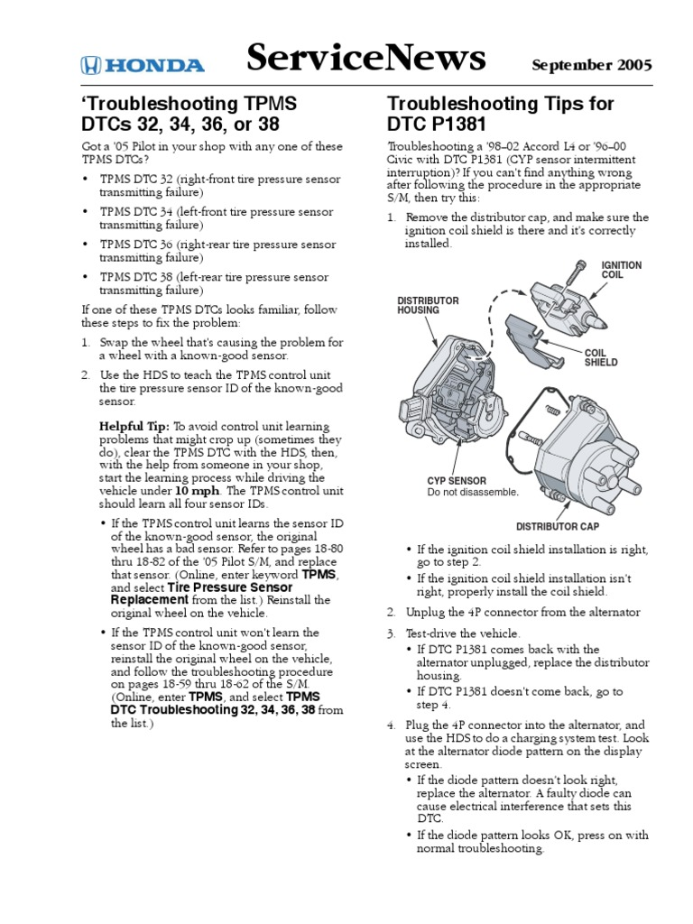 DTC P1381 Honda Civic pdf | Distributor | Ignition System