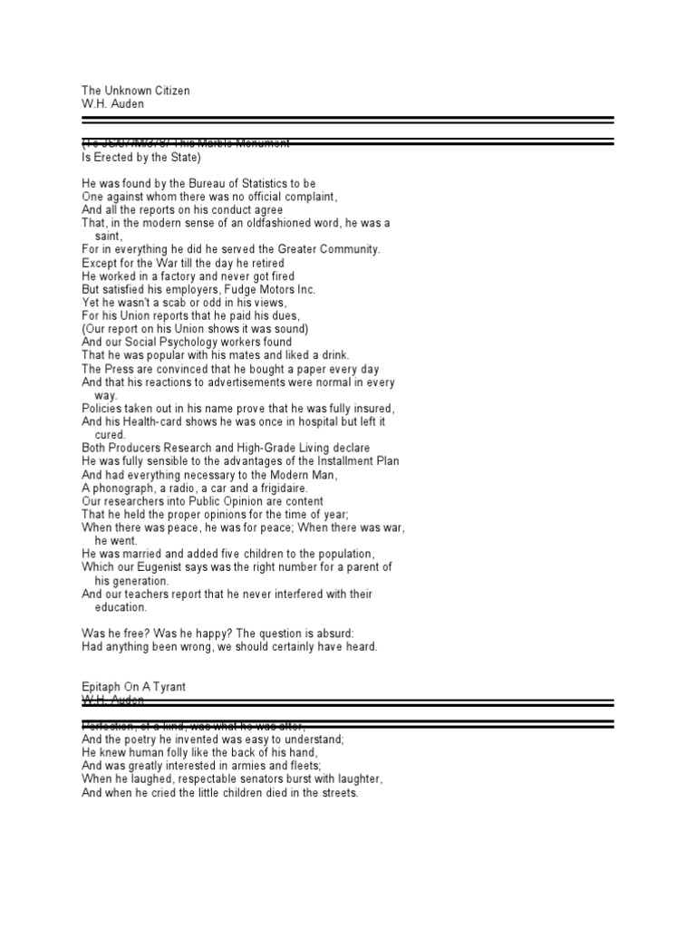 wh auden poems the unknown citizen