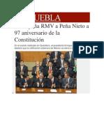 05-02-2014 Milenio.com - Acompaña RMV a Peña Nieto a 97 aniversario de la Constitución