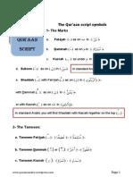 Qur'aanic Script Tajweed Rules