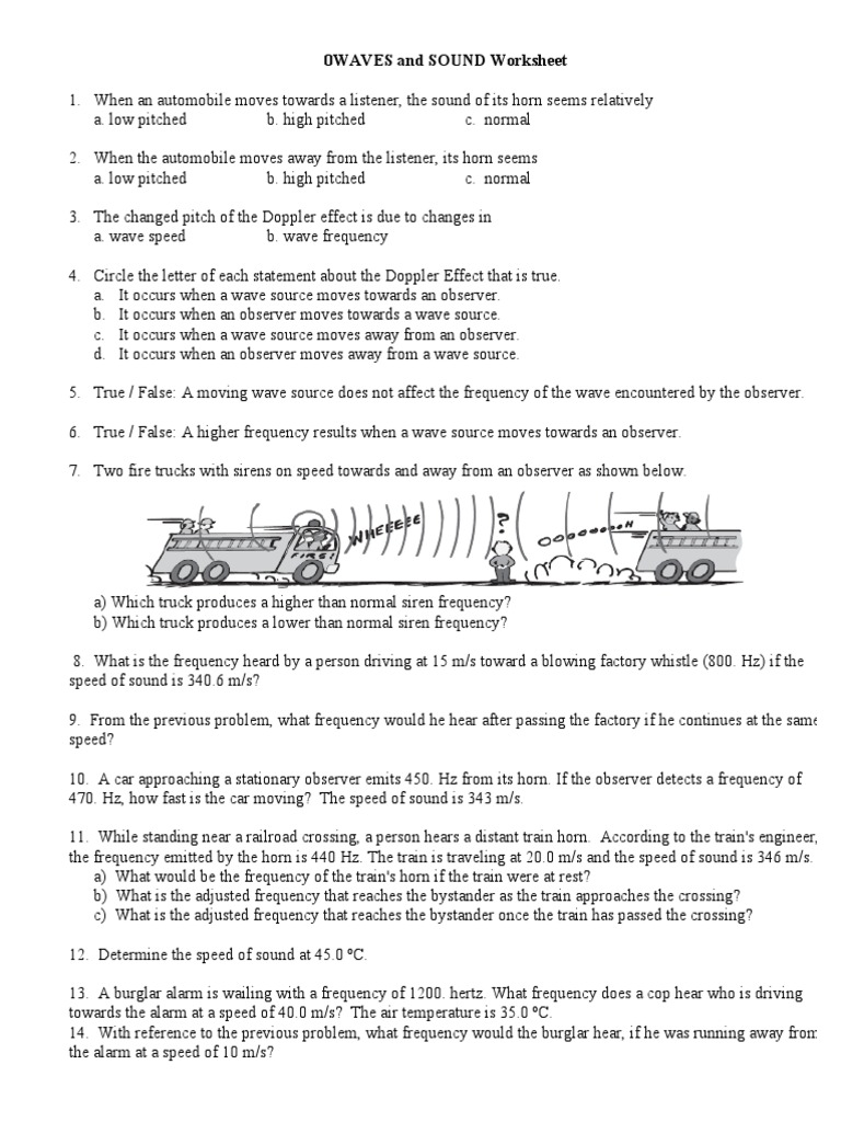 Worksheets Doppler Effect Worksheet doppler sound worksheet effect frequency