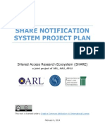 SHared Access Research Ecosystem (SHARE) Project Plan