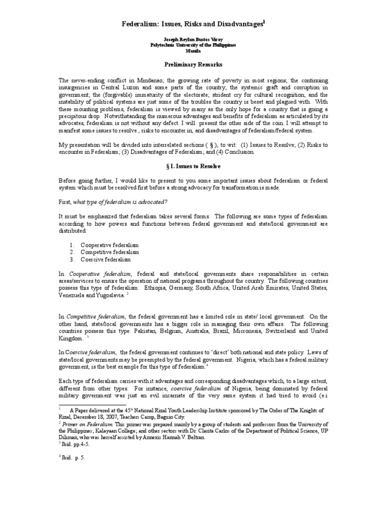 What are the disadvantages of federalism. 12 Federalism ...