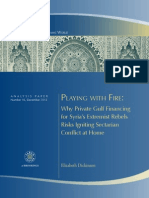 Private Gulf Financing Syria Extremist Rebels Sectarian Conflict Dickinson