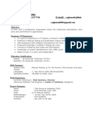 3 6 Yrs Exp In Testing Resume Software Testing Information
