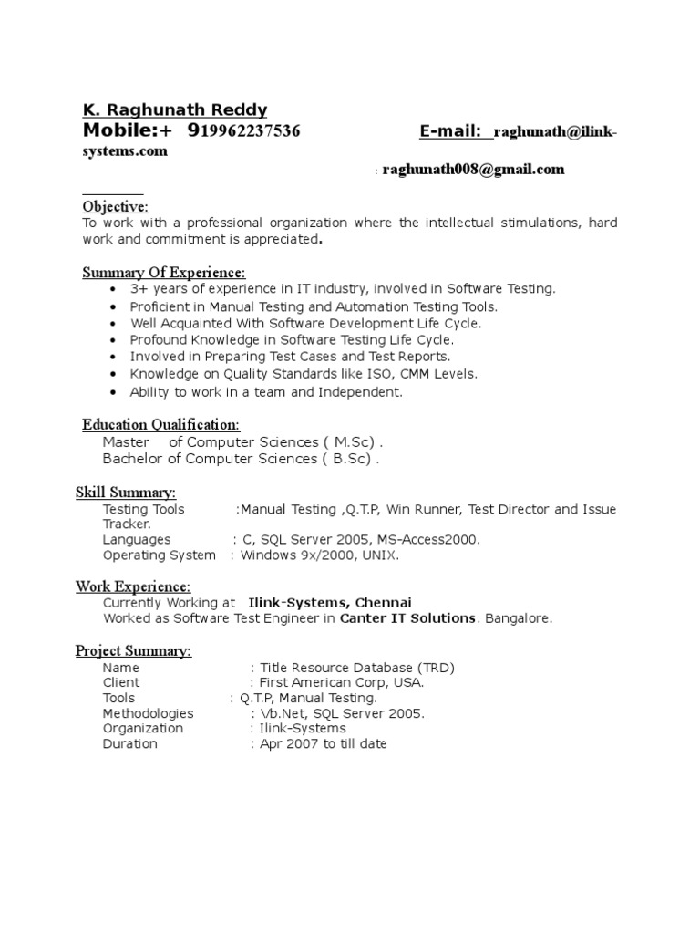Testing Tools Resume For Experienced Cover Letter For Testing Job