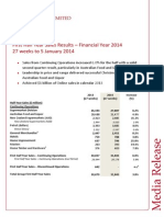 First Half Year Sales Results - Financial Year 2014 27 weeks to 5 January 2014