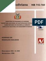 NORMA BOLIVIANA 742- 760 RESIDUOS SOLIDOS.pdf