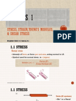 Stress Strain Young Modulus and Shear Stress