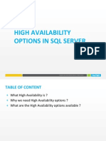 High Availability Options in SQL Server