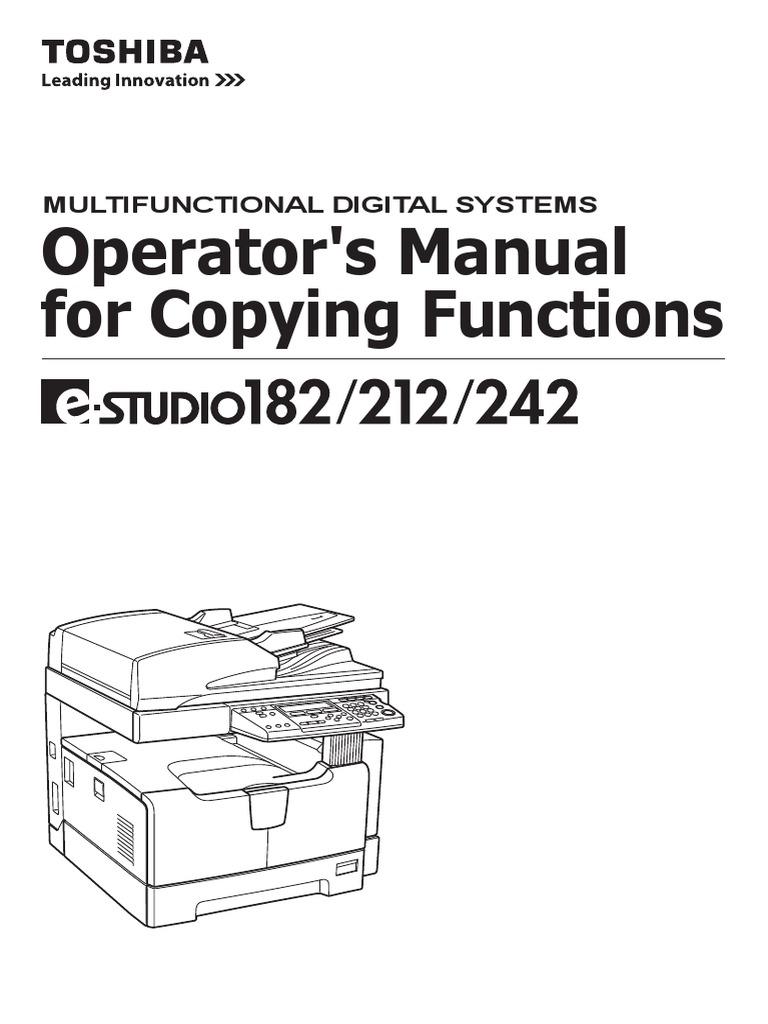toshiba e studio 182 212 242 multifunctional digital systems service repair manual
