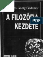 Hans-Georg Gadamer A filozófia kezdete