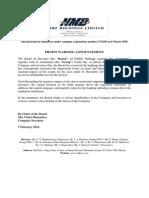 NMB Profit Warning Announcement